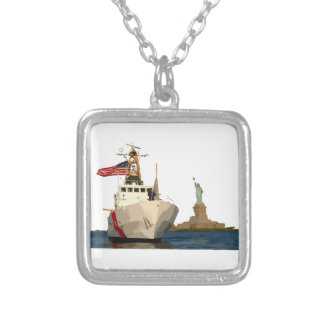 Coast Guard and Statue of Liberty Silver Plated Necklace