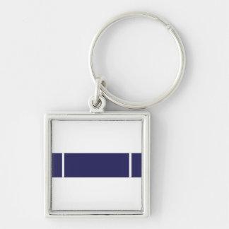 Coast Guard Expert Pistol Ribbon Silver-Colored Square Keychain
