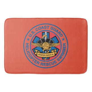 Coast Guard Helicopter Rescue Swimmer Bathroom Mat