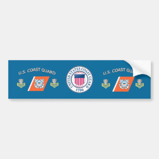 Coast Guard PO1 Racing Stripe Bumper Sticker