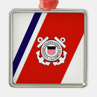 Coast Guard Racing Stripe - Right Silver-Colored Square Ornament