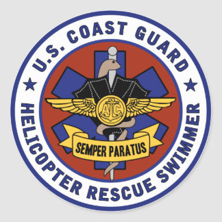 Coast Guard Rescue Swimmer Round Sticker