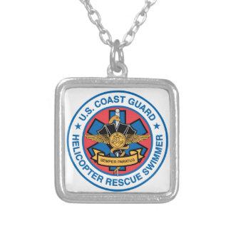 coast guard rescue swimmer silver plated necklace