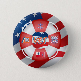 Coast Guard Vet Life-Ring 2 Inch Round Button