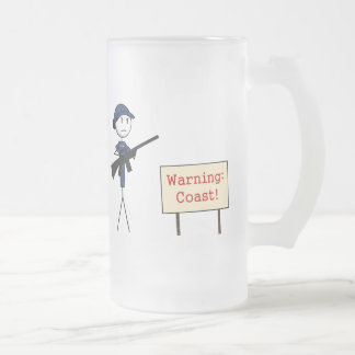 "Coast Guard ""Warning: Coast!"" Frosted Mug (Female)"