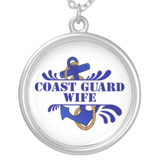 Coast Guard Wife, Anchors Away! Silver Plated Necklace