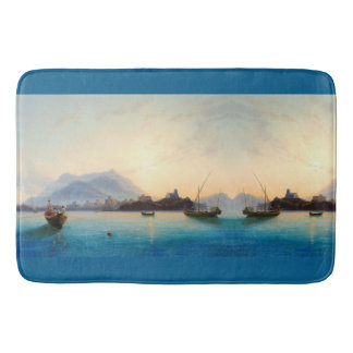 Coast Italy Ocean Fishing Boats Sea Bath Mat