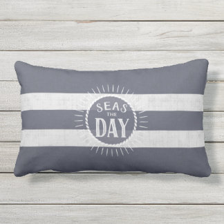 Coast Lover's Seas the Day Beach Bum Navy Striped Lumbar Pillow