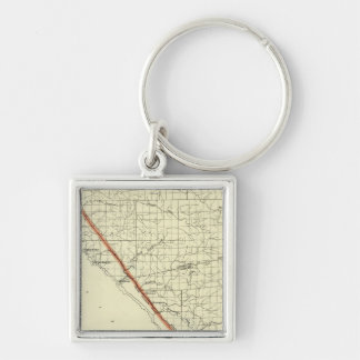 Coast of California showing San Andreas Rift Silver-Colored Square Keychain