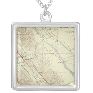 Coast Ranges showing San Andreas Rift Silver Plated Necklace
