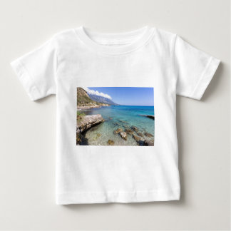 Coast with blue sea rocks and mountains in Greece Baby T-Shirt