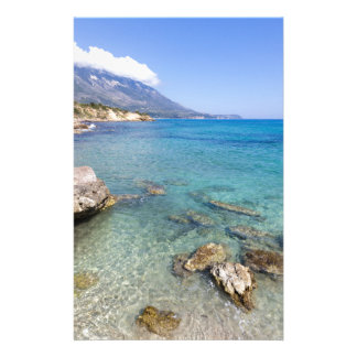 Coast with blue sea rocks and mountains in Greece Stationery