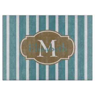 Coastal Aqua and Khaki Stripe Monogram Cutting Board