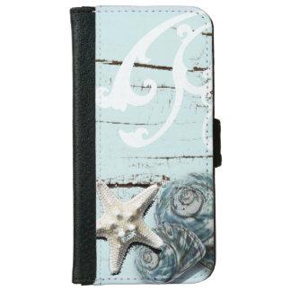 Coastal aqua blue beach wood starfish seashell iPhone 6 wallet case