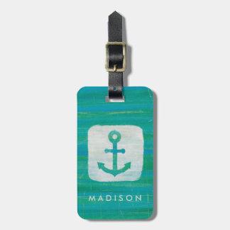 Coastal Art   Aqua Anchor Bag Tag