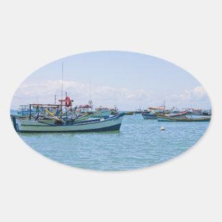 Coastal Art Blue Sea and Boats Photograph Oval Sticker
