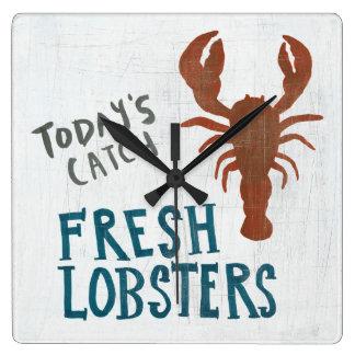 Coastal Art   Fresh Lobsters Square Wall Clock