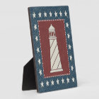 Coastal Art | Lighthouse on Red Plaque
