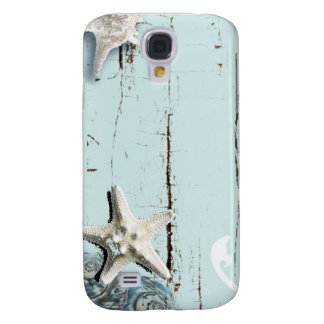 Coastal barn wood aqua blue starfish seashells