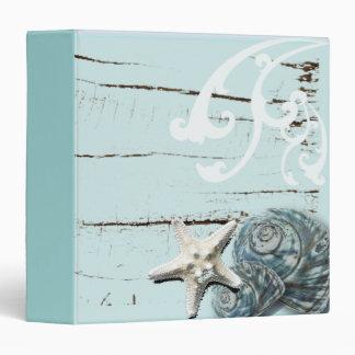 Coastal barn wood aqua blue starfish seashells 3 ring binders