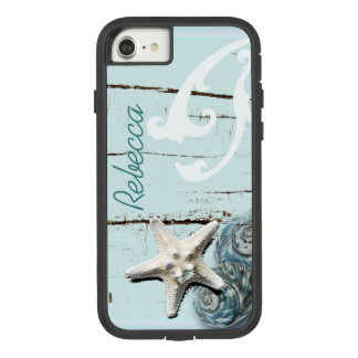 Coastal barn wood aqua blue starfish seashells Case-Mate tough extreme iPhone 7 case