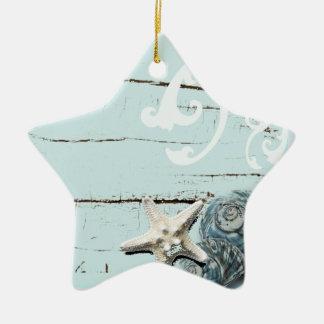 Coastal barn wood aqua blue starfish seashells ceramic star ornament