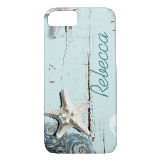 Coastal barn wood aqua blue starfish seashells iPhone 8/7 case