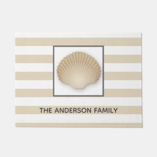 Coastal Beach Seashell, Stripes, & Family Name Doormat