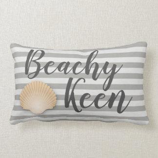 Coastal Beachy Keen Gray Stripes & Tan Seashell Lumbar Pillow