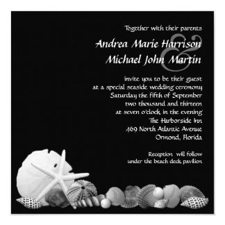Coastal Black and White Seashells Wedding Invite