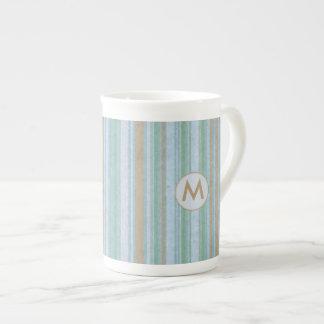 Coastal Blue and Sand Stripes Monogram Tea Cup