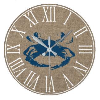 Coastal Blue Crab & Faux Burlap Large Clock