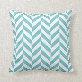 Coastal Blue Herringbone Print Throw Pillow