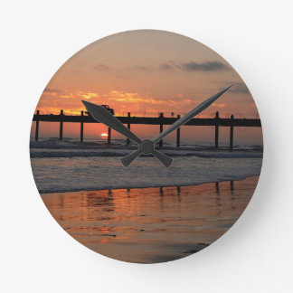 Coastal Bridge at Sunset Round Clock