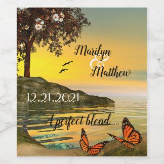 Coastal Butterfly Art Wedding Wine Label