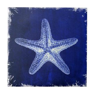 coastal chic beach rustic nautical blue starfish tile