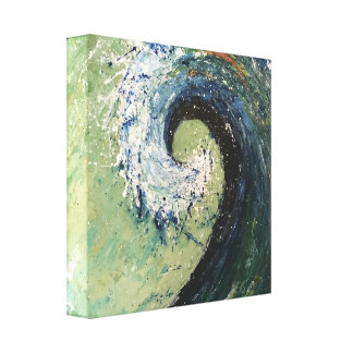 Coastal Cottage Beach Wave Art Canvas Print
