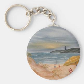 coastal decor beach art oil painting basic round button keychain