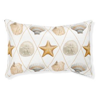 Coastal Decor Seashell Pattern Small Dog Bed