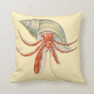 Coastal Decor Throw Pillow Hermit Crab Watercolor