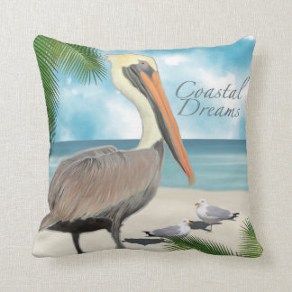 Coastal Dreams Pelican Pillow