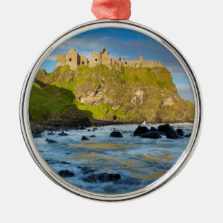 Coastal Dunluce castle, Ireland Silver-Colored Round Ornament