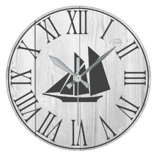 Coastal Faux White Wood & Sailboat Silhouette Large Clock