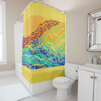 Coastal Frequencies 2 Art Shower Curtain