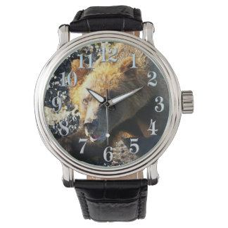 Coastal Grizzly Bear Face - Wildlife Photo Watches