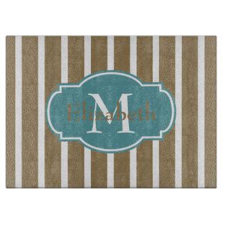 Coastal Khaki and Aqua Stripe Monogram Cutting Board