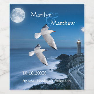 Coastal Lighthouse Ocean Wedding Wine Label