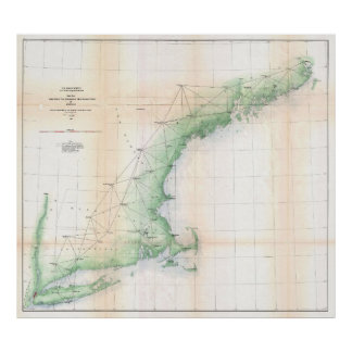 Coastal Map of New England (1864) - Improved TXT Poster