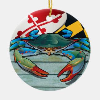 Coastal Maryland Blue Crab with Flag Ceramic Ornament