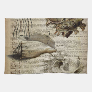 coastal modern vintage french botanical seashell kitchen towel